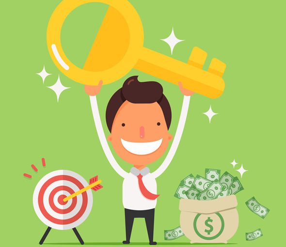 businessman excited upon reaching goals and building a lucrative blog using plr articles